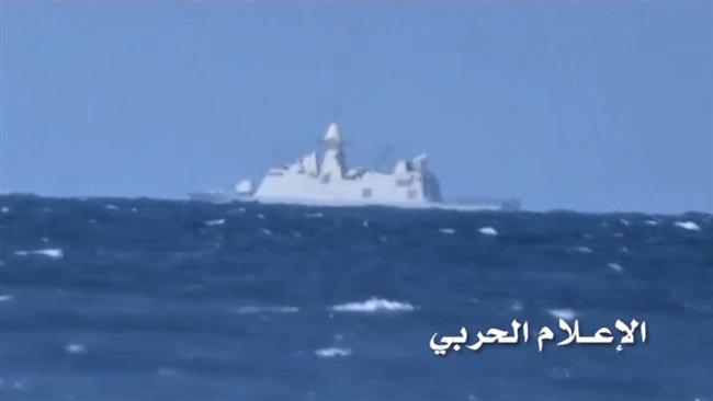 This photo provided by Yemen's Joint Operations Command purportedly shows Saudi al-Madinah warship in waters off the coast of Hudaydah city, Yemen, on January 30, 2017.