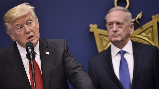 US President Donald Trump speaks following the ceremonial swearing-in of James Mattis (R) as secretary of defense on January 27, 2016 at the Pentagon in Washington, DC. (Photo by AFP)