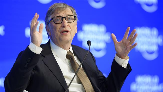 US philanthropist Bill Gates, of the Bill & Melinda Gates Foundation gestures during a session of the World Economic Forum, on January 19, 2017 in Davos. (Photo by AFP)