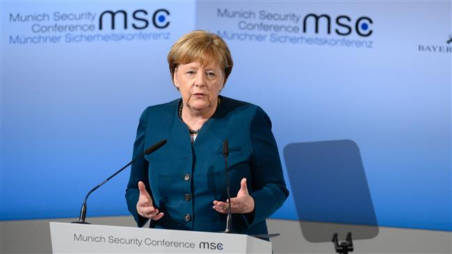 German Chancellor Angela Merkel delivers a speech on the 2nd day of the 53rd Munich Security Conference (MCS) in Munich, southern Germany, on February 18, 2017. (Photo by AFP)