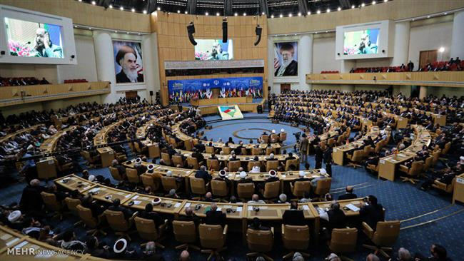 A general view of Tehran's Islamic Summit Conference Hall hosting an international event in support of the Palestinian cause, February 21, 2017 (Photo by Mehr)