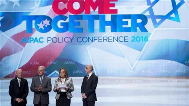 AIPAC president Lillian Pinkus (2nd R), makes a statement during the pro-Israeli group's 2016 policy conference at the Washington Convention Center in Washington, DC, March 22, 2016. (AFP)