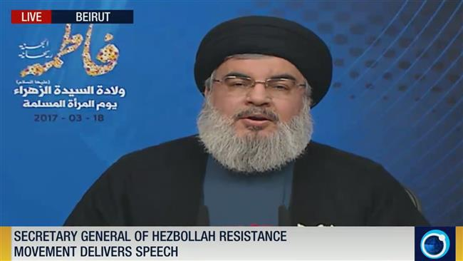 The secretary general of Lebanon's Hezbollah resistance movement, Sayyed Hassan Nasrallah, delivers a televised speech in Beirut, Lebanon, on March 18, 2017.