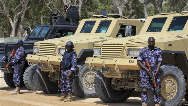 African Union (AU) soldiers stand with their armored vehicles near a checkpoint in Mogadishu, Somalia, Feb. 7, 2017. (File photo)