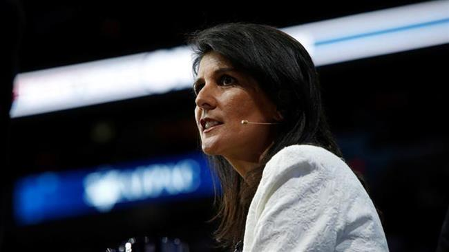 US Ambassador to the United Nations NIkki Haley speaks in Washington, March 27, 2017.  (Photo by Reuters)