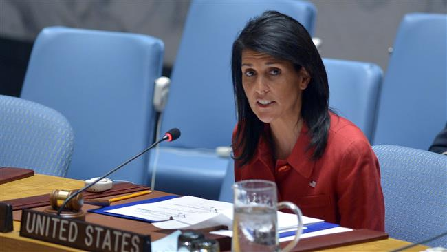 US Ambassador to the UN Nikki Haley speaks during an United Nations Security Council meeting on Syria, at the UN headquarters in New York on April 7, 2017. (Photo by AFP)