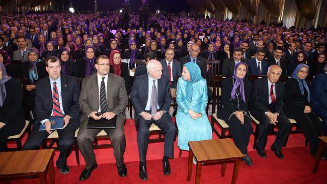 US Senator John McCain met the head of the terrorist Mujahedin-e Khalq Organization (MKO), Maryam Rajavi, in the Albanian capital of Tirana on April 14, 2017.