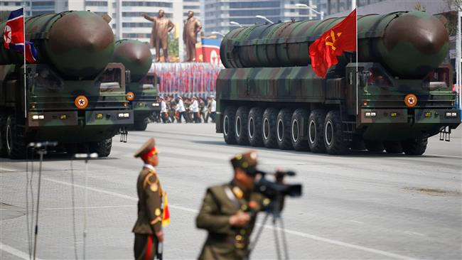 Intercontinental ballistic missiles (ICBM) are driven during a military parade in Pyongyang on April 15, 2017. (Photo by Reuters)