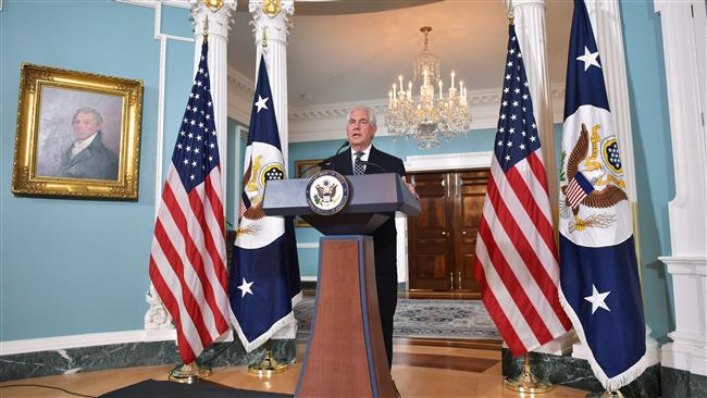US Secretary of State Rex Tillerson holds a press conference on Iran in the Treaty Room of the State Department in Washington, DC on April 19, 2017. (Photo by AFP)