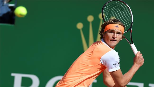 German Alexander Zverev hits a return to Spain's Rafael Nadal during their match at the Monte-Carlo ATP Masters Series tennis tournament on April 20, 2017 in Monaco. © AFP