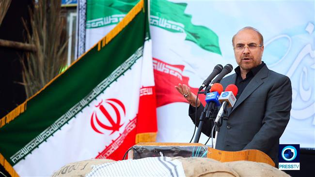 Iran's 12th presidential election candidate, Mohammad Baqer Qalibaf, addresses a campaign gathering in northern Iranian city of Sari, April 23, 2017, to explain his plans if elected president. (Photo by Press TV)
