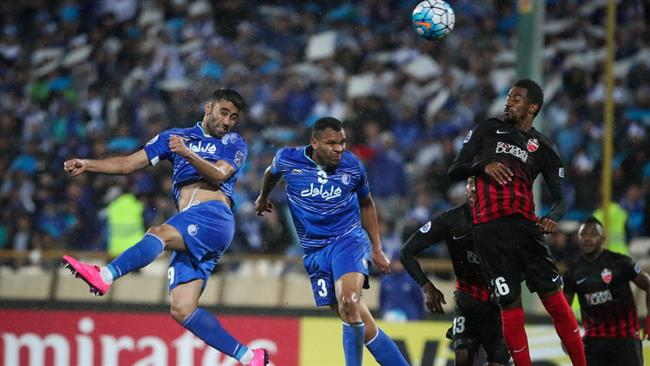 The photo shows a view of the AFC Champions League Group A match between Iran's Esteghlal Tehran football club (players in blue) and Al Ahli of the United Arab Emirates at Azadi Stadium, western Tehran, Iran, on April 25, 2017.