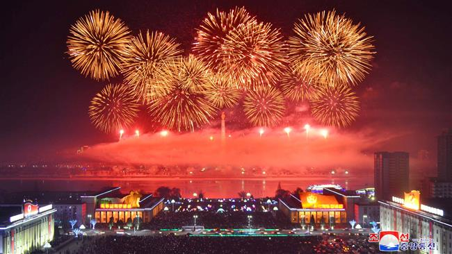 Fireworks are seen during New Year celebrations in this photo released by North Korea's Korean Central News Agency (KCNA) in Pyongyang on January 1, 2018. (Photo by Reuters)