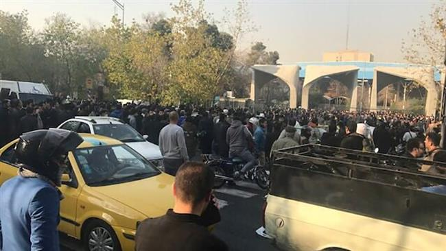 People take part in a protest rally near the University of Tehran, Iran, on December 30, 2017. (Via Reuters)