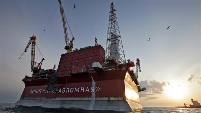 A Russian oil production platform in the Arctic.