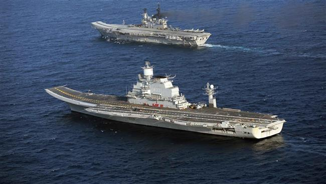 Indian aircraft carriers INS Vikramaditya and INS Virat at sea (file photo)