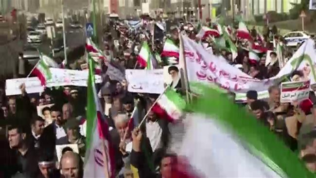 Iranians rally in support of Islamic Establishment.