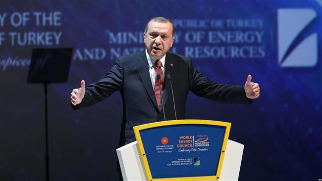 Turkish President Recep Tayyip Erdogan delivers a speech during the 23rd World Energy Congress on October 10, 2016 in Istanbul. (Photo by AFP)