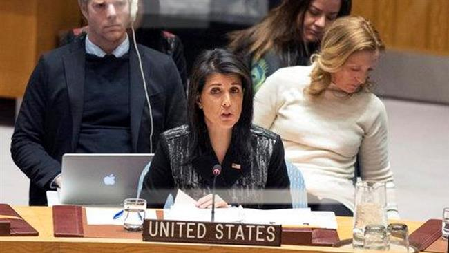 American Ambassador to the United Nations Nikki Haley speaks during a Security Council meeting on the situation in Iran, Friday, Jan. 5, 2018 at United Nations headquarters. (Photo by AP)