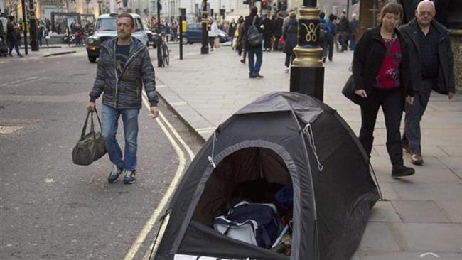 A tent set up by a homeless person near Trafalgar Square, London (Getty Images)