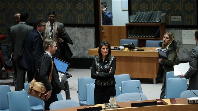 US Ambassador to the United Nations Nikki Haley looks on before the start of a UN Security Council meeting concerning the situation in Iran, January 5, 2018 in New York City. (Photo by AFP)