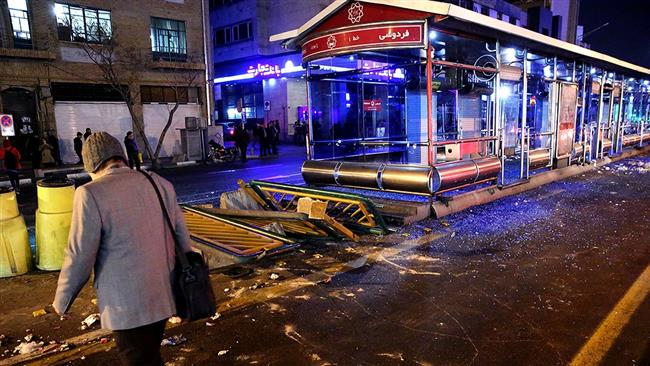 The photo shows a damaged bus station following violent clashes in downtown Tehran, December 31, 2017. (Photo by by Fars news agency)