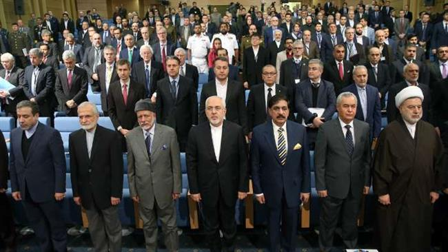 Iranian and foreign dignitaries, including Foreign Minister Mohammad Javad Zarif (4th R, 1st row), are seen at the venue of Tehran Security Conference on January 8, 2018. (Photo by IRNA)
