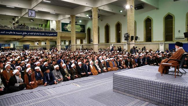 Leader of the Islamic Revolution Ayatollah Seyyed Ali Khamenei addresses people from the holy city of Qom, during a meeting in the capital, Tehran, on  January 9, 2017. (Photo by IRNA)