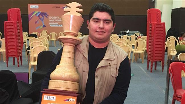Junior Iranian chess grandmaster Parham Maghsoodloo poses for a photograph at the end of the third edition of IIFL Wealth 3rd Mumbai International Chess Tournament in India on January 7, 2018.