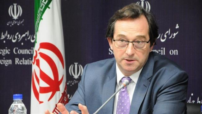 The United Kingdom's Ambassador to Tehran Nicholas Hopton attends a gathering hosted by Iranian think tank the Strategic Council on Foreign Relations, in Tehran, January 9, 2018.