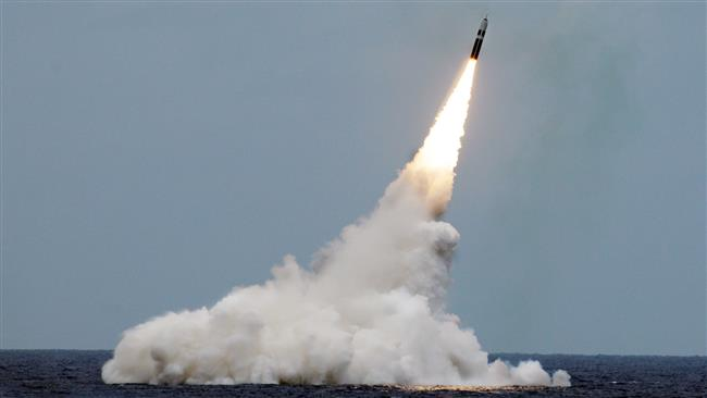 An unarmed Trident II D5 missile launches from the 'Ohio'-class fleet ballistic-missile submarine USS 'Maryland' off the coast of Florida, August 31, 2016. (Photo via US Navy)