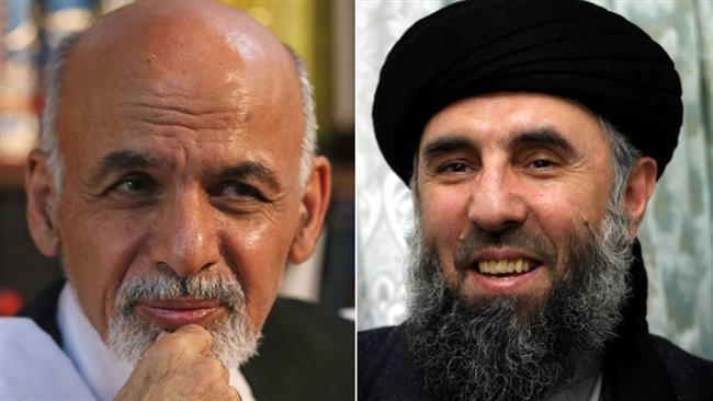 The combo picture shows Afghan President Ashraf Ghani (L) and former warlord Gulbuddin Hekmatyar.