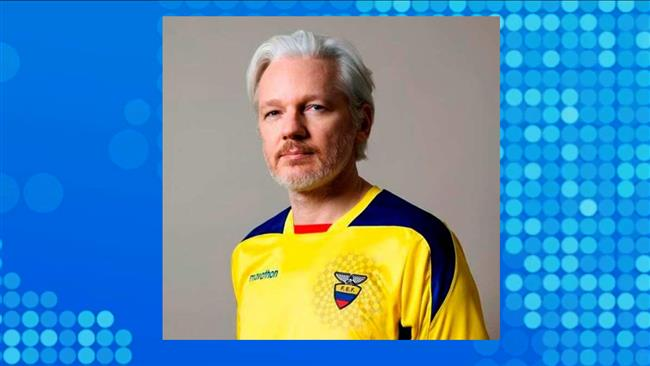 WikiLeaks co-founder Julian Assange is seen in a jersey of Ecuador's national soccer team in a photo he tweeted on January 10, 2018.