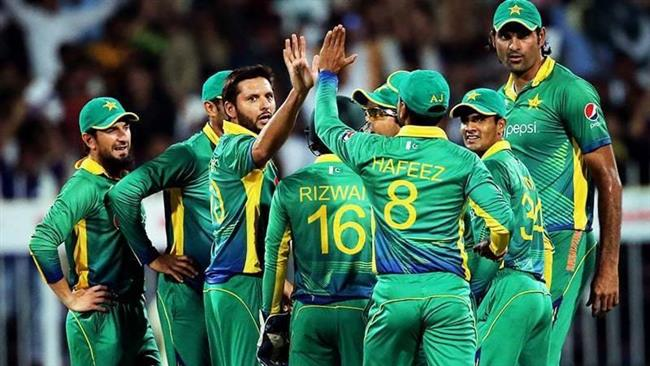This file picture shows members of Pakistan men's national cricket team.