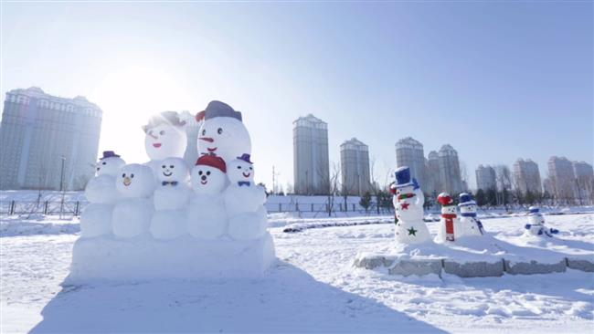 Snowman sculptures in Harbin, China.