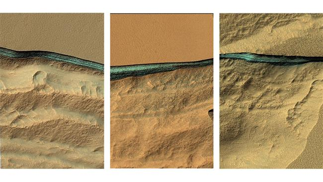 Eroded banks throughout Mars's mid-latitudes reveal underground bands of bluish material. Spectra of these layers—which start one to almost two meters beneath the surface—strongly suggest that they are made of water ice. (Photo by NASA)