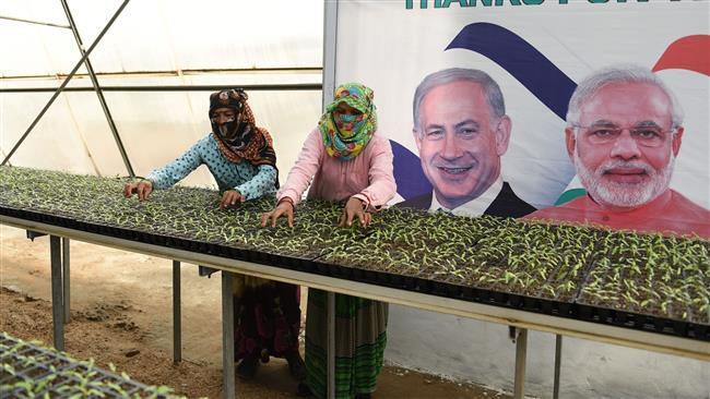 Indian workers tend to seedlings alongside a banner displaying images of Israeli Prime Minister Benjamin Netanyahu (L) and Indian Prime Minister Narendra Modi at Vadrad village, some 70 kilometers (43 miles) from the city of Ahmedabad in western India, January 12, 2018. (Photo by AFP)