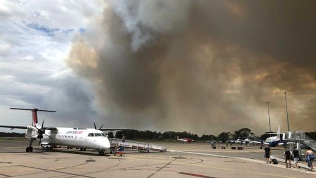 The smoke from the bushfire as viewed from the Newcastle Airport