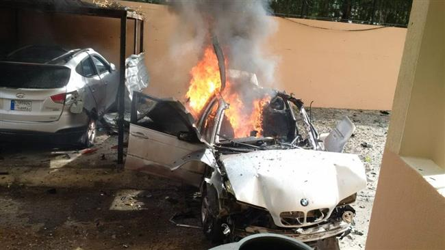 A picture by Lebanon's An-Nahar newspaper on January 14, 2018 reportedly shows the aftermath of a car bomb attack targeting a Hamas official in the southwestern Lebanese city of Sidon.
