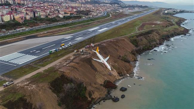 A Pegasus Airlines Boing 737 passenger plane is seen struck in mud on an embankment, a day after skidding off the airstrip, after landing at Trabzon's airport on the Black Sea coast on January 14, 2018. (AFP)