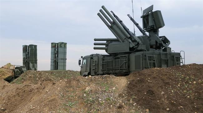 The Russian Pantsir S1 air defense system foreground and the S-400 long-range air defense missile systems in Syria